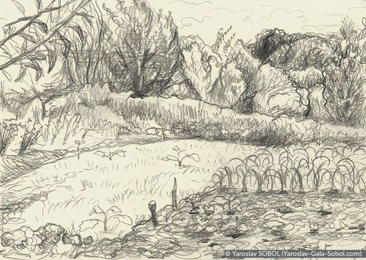 YAROSLAV SOBOL  Summer landscape. 2005. Graphite pencil on paper. 14,5x20,5 (5 5/8 x 8 in) // Літній пейзаж. 2005. Папір, олівець. 14,5x20,5