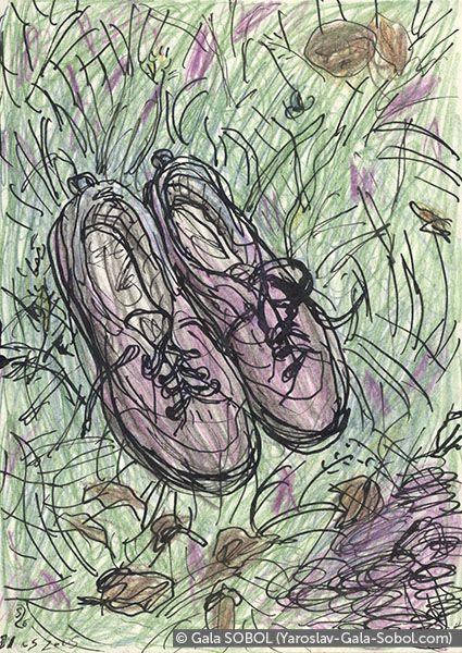 GALA SOBOL  Shoes. 2005. Ink and colored pencil on paper. 14x10 (5 1/2 x 4 in) // Туфлі. 2005. Папір, туш, кольорові олівці. 14x10