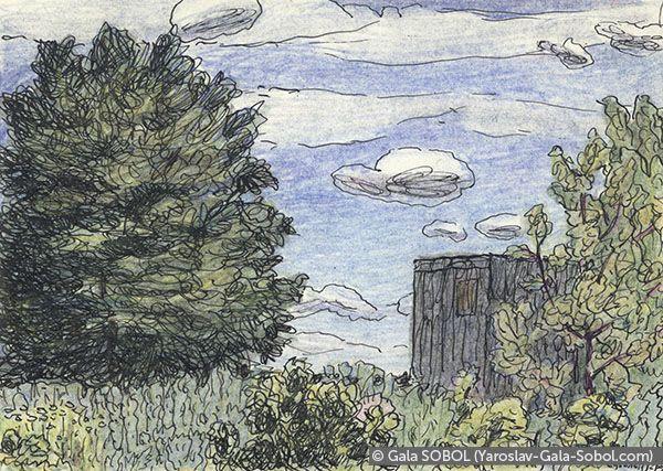 GALA SOBOL  June. 2005 Gel pen and colored pencil on paper. 10x14 (4 x 5 1/2 in) // Червень.2005. Папір, гелева ручка, кольорові олівці. 10x14