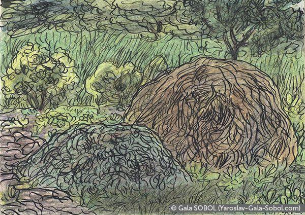 142) GALA SOBOL In the garden. 2005. Ink and colored pencil on paper. 10x14 (4 x 5 1/2 in) // В саду.2005. Папір, туш, кольорові олівці. 10x14