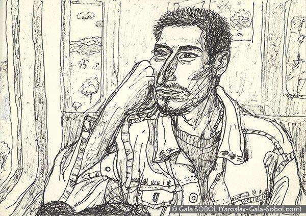 GALA SOBOL Yaroslav on the electric train-2. 2005. Gel pen on paper. 10x14 (4 x 5 1/2 in) // Ярослав в електричці-2. 2005. . Папір, гелева ручка. 10x14