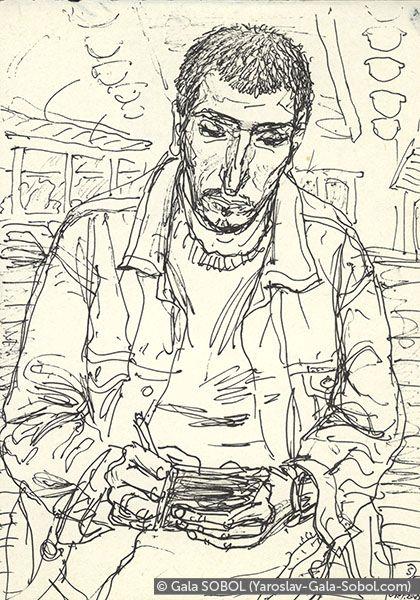 GALA SOBOL  Yaroslav on the electric train-3. 2005. Gel pen on paper. 10x14 (5 1/2 x 4 in) // Ярослав в електричці-3. 2005. Папір, гелева ручка. 10x14