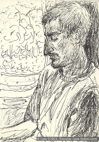 GALA SOBOL  Yaroslav on the electric train-4. 2005. Gel pen on paper. 14x10 (5 1/2 x 4 in) // Ярослав в електричці-4. 2005. Папір, гелева ручка. 14x10