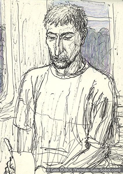 GALA SOBOL  Yaroslav on the electric train-5. 2005. Gel pen and colored pencil on paper. 14x10 (5 1/2 x 4 in) // Ярослав в електричці-5. 2005. Папір, гелева ручка, кольорові олівці. 14x10