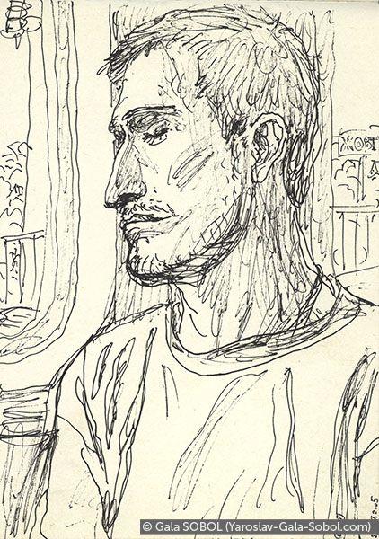 GALA SOBOL  Yaroslav on the electric train-6. 2005. Gel pen on paper. 14x10 (5 1/2 x 4 in) // Ярослав в електричці-6. 2005. Папір, гелева ручка. 14x10