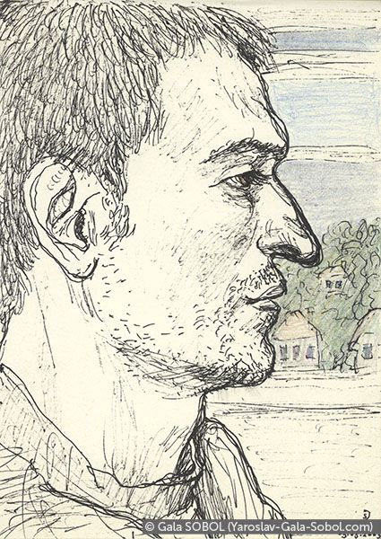 GALA SOBOL Yaroslav on the electric train-7. 2005. Gel pen and colored pencil on paper. 14x10 (5 1/2 x 4 in) // Ярослав в електричці-7. 2005. Папір, гелева ручка, кольорові олівці. 14x10