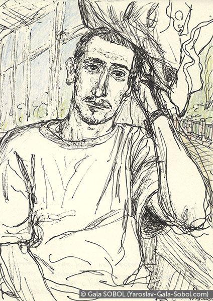GALA SOBOL  Yaroslav on the electric train-8. 2005. Gel pen and colored pencil on paper. 14x10 (5 1/2 x 4 in) // Ярослав в електричці-8. 2005. Папір, гелева ручка, кольорові олівці. 14x10
