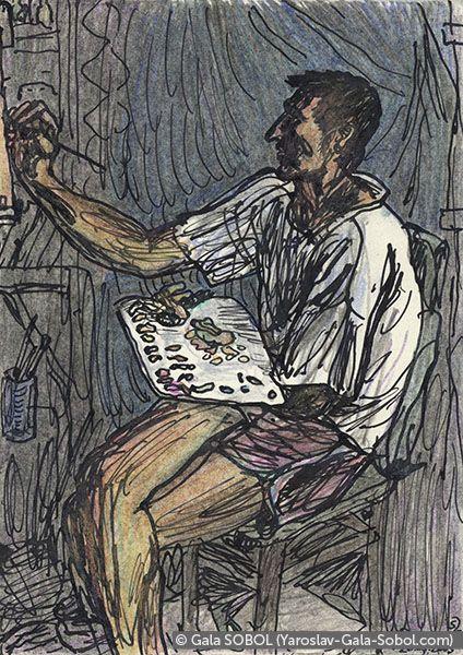 GALA SOBOL Yaroslav is working at home-1. 2005. Ink and colored pencil on paper. 14x10 (5 1/2 x 4 in) // Ярослав працює вдома-1. 2005. Папір, туш, кольорові олівці. 14x10