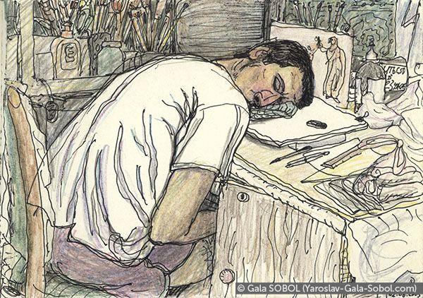 GALA SOBOL  Yaroslav is working at home-2. 2005. Gel pen and colored pencil on paper. 10x14 (4 x 5 1/2 in) // Ярослав працює вдома-2. 2005. Папір, гелева ручка, кольорові олівці. 10x14