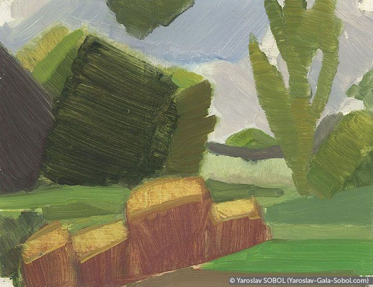 YAROSLAV SOBOL  Summer landscape. Sketch-5. 2005. Oil on cardboard. 15x20 (5 7/8 x 7 7/8 in) // Літній пейзаж. Етюд-5. 2005. Картон, олія. 15x20
