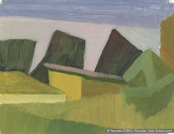 YAROSLAV SOBOL Summer landscape. Sketch-9. 2005. Oil on cardboard. 15x20 (5 7/8 x 7 7/8 in) // Літній пейзаж. Етюд-9. 2005. Картон, олія. 15x20