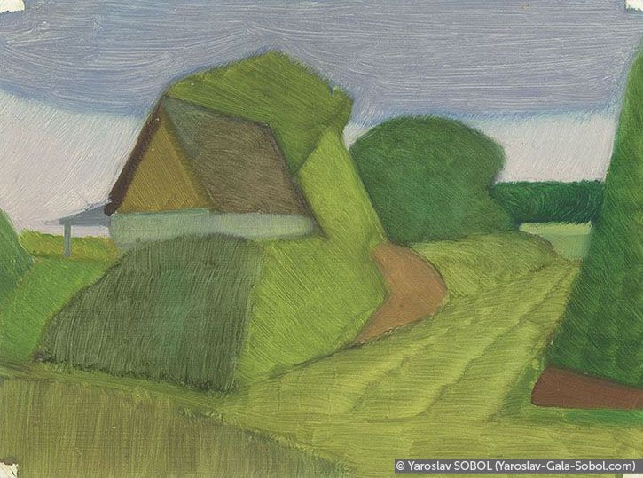 YAROSLAV SOBOL  Summer landscape. Sketch-7. 2005. Oil on cardboard. 15x20 (5 7/8 x 7 7/8 in) // Літній пейзаж. Етюд-7. 2005. Картон, олія. 15x20