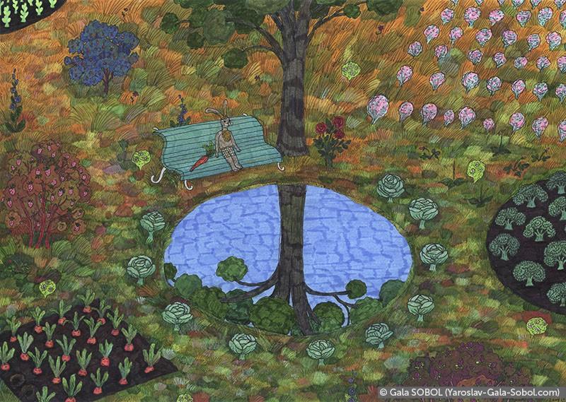 GALA SOBOL Hare's garden. 2004. Mixed media. 21x29,7 (8 1/4 x 11 7/8 in) // Заячий сад. 2004. Мішана техніка. 21x29,7