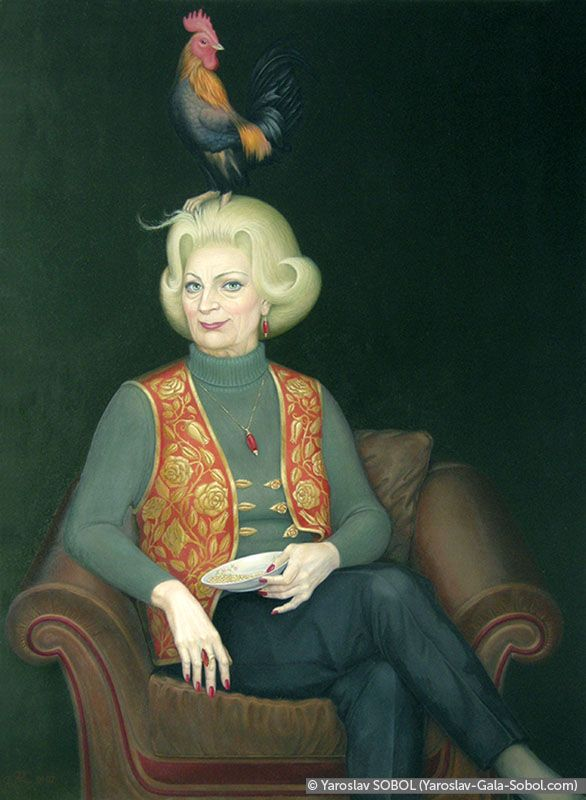 YAROSLAV SOBOL Old Lady with a Cock. 2001-2002. Oil on masonite. 86x63 (33 7/8 x 23 3/4 in) // Дама з півнем. 2001–2002. Масоніт, олія. 86x63