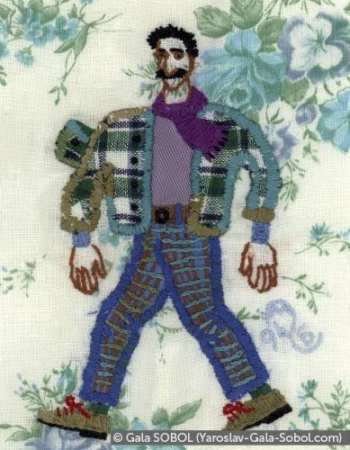 GALA SOBOL  Sping. (Portrait of Yaroslav.) 1994. Embroidery. 14,5x11 (5 7/8 x 4 3/8 in) // Весна. (Портрет Ярослава.) 1994. Вишивка. 14,5x11