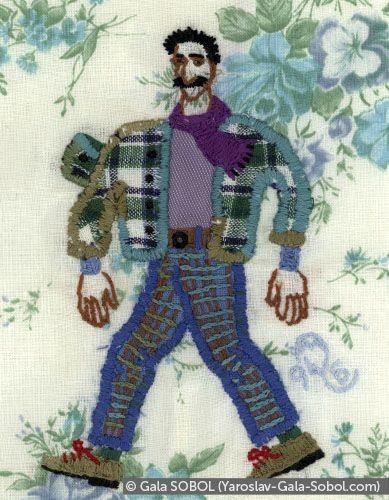 GALA SOBOL Sping. (Portrait of Yaroslav.) 1994. Embroidery. 14,5x11 (5 7/8 x 4 3/8 in) // Весна. (Портрет Ярослава.) 1994. Вишивка. 14,5x11