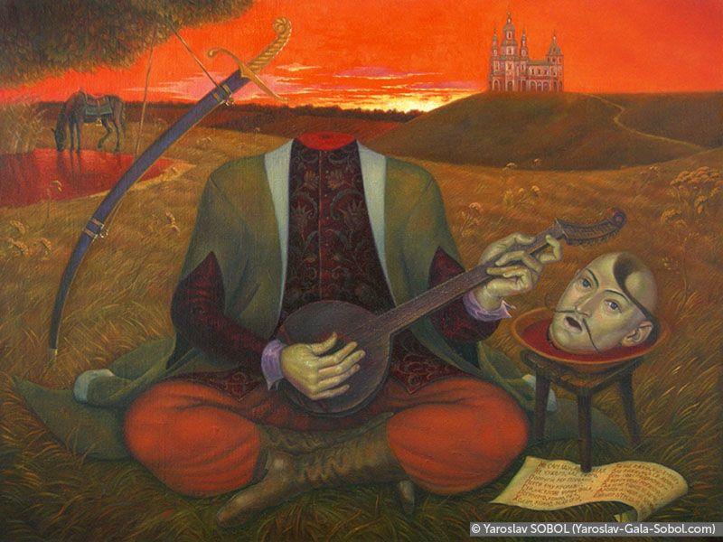 Head that sings. 2001-2002. Oil on canvas. 45х60 (17 3/4 x 23 5/8 in) // Голова, що співає. 2001–2002. Полотно, олія. 45х60