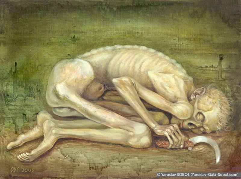 YAROSLAV SOBOL Death that asleep. 2003. Oil on masonite. 47x30 (7 1/8 x 9 1/2 in) // Смерть, що спить. 2003. Масоніт, олія. 18х24