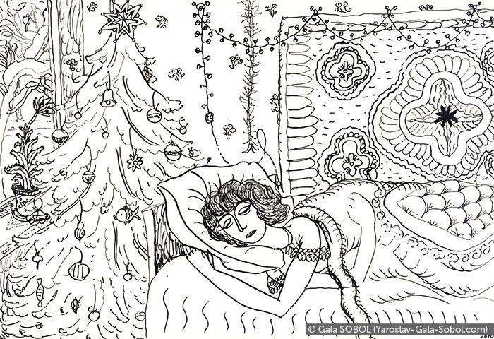 GALA SOBOL Winter morning. On the first floor of the house. 2010. Ink on paper. 13x19 (5 1/8 x 7 1/2 in) // Зимовий ранок. На першому поверсі будинку. 2010. Туш, папір. 13x19