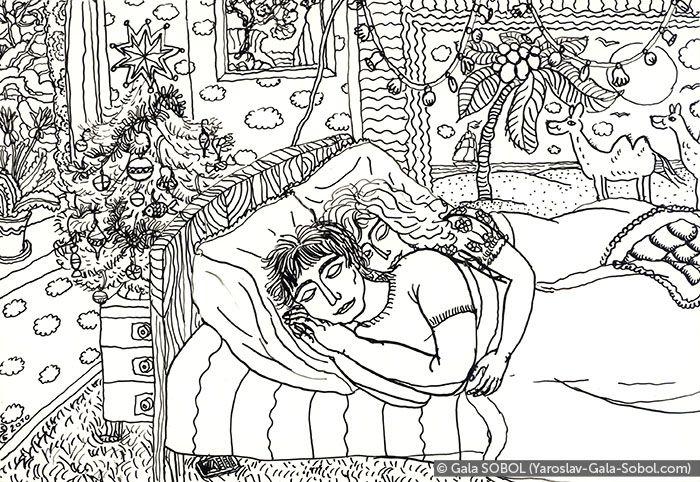 GALA SOBOL  Winter morning. On the second floor of the house. 2010. Ink on paper. 13x19 (5 1/8 x 7 1/2 in) // Зимовий ранок. На другому поверсі будинку.2010. Туш, папір. 13x19