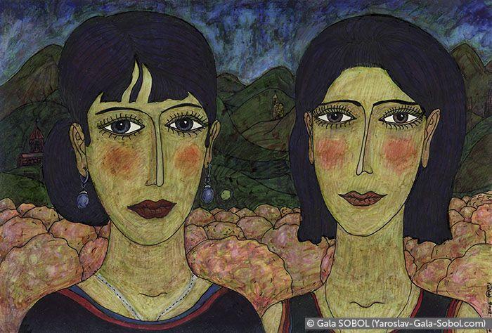 GALA SOBOL Sisters from Georgia. 2006-2014. Mixed media. 13x19 (5 1/8 x 7 1/2 in) // Сестри з Грузії.2006-2014. Мішана техніка. 13x19