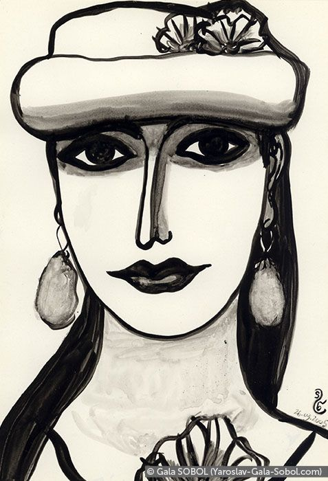 GALA SOBOL  Lady – 1. 2005. Ink on paper. 19x13 (7 1/2 x 5 1/8 in) // Пані – 1. 2005. Туш, папір. 19x13