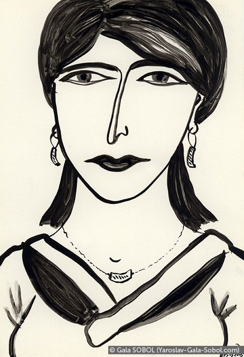 GALA SOBOL Lady – 2. 2005. Ink on paper. 19x13 (7 1/2 x 5 1/8 in) // Пані – 2. 2005. Туш, папір. 19x13