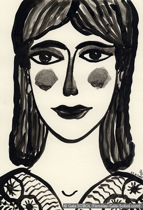 GALA SOBOL  Lady – 3. 2006. Ink on paper. 19x13 (7 1/2 x 5 1/8 in) // Пані – 3. 2006. Туш, папір. 19x13