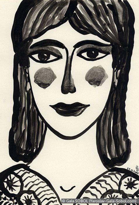 GALA SOBOL  Lady – 3. 2006. Ink on paper. 19x13 (7 1/2 x 5 1/8 in) // Пані – 3. 2006. Туш, папір. 19x13