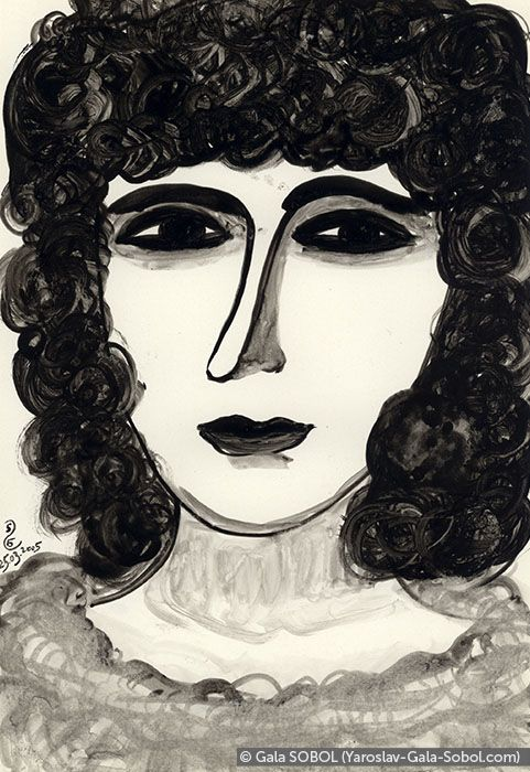 GALA SOBOL  Lady – 5. 2005. Ink on paper. 19x13 (7 1/2 x 5 1/8 in) // Пані – 5. 2005. Туш, папір. 19x13