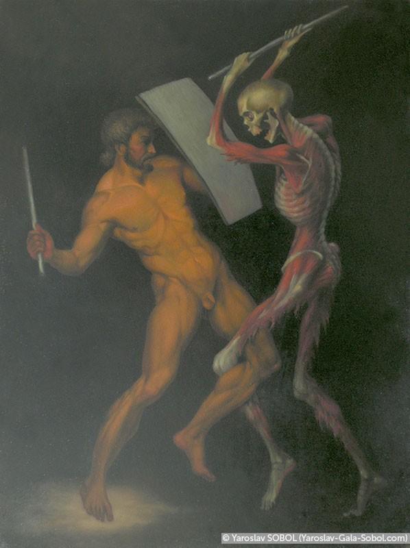 YAROSLAV SOBOL The fight of the clay man with the skeleton. 2014. Oil on linen. 40x30 (15 3/4 x 11 7/8 in) // Бій глиняного чоловічка з кістяком. 2014. Полотно, олія. 40x30