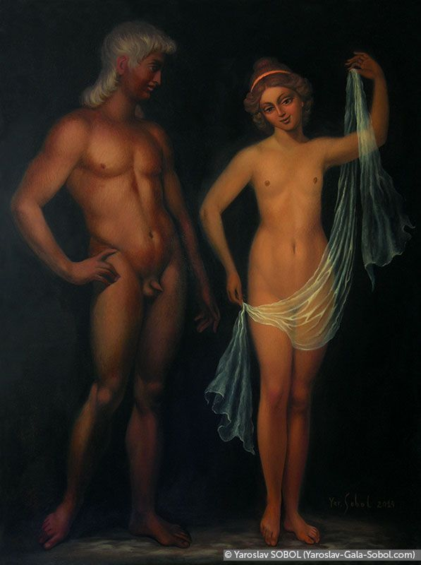 YAROSLAV SOBOL  He and She. 2014. Oil on linen. 40x30 (15 3/4 x 11 7/8 in) // Він та вона. 2014. Полотно, олія. 40x30